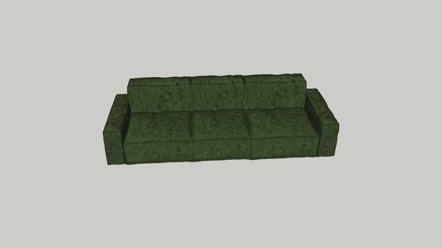 """Groene """"velvet"""" modulaire bank 3 zits / Green velvet modulair sofa 3 seater"""