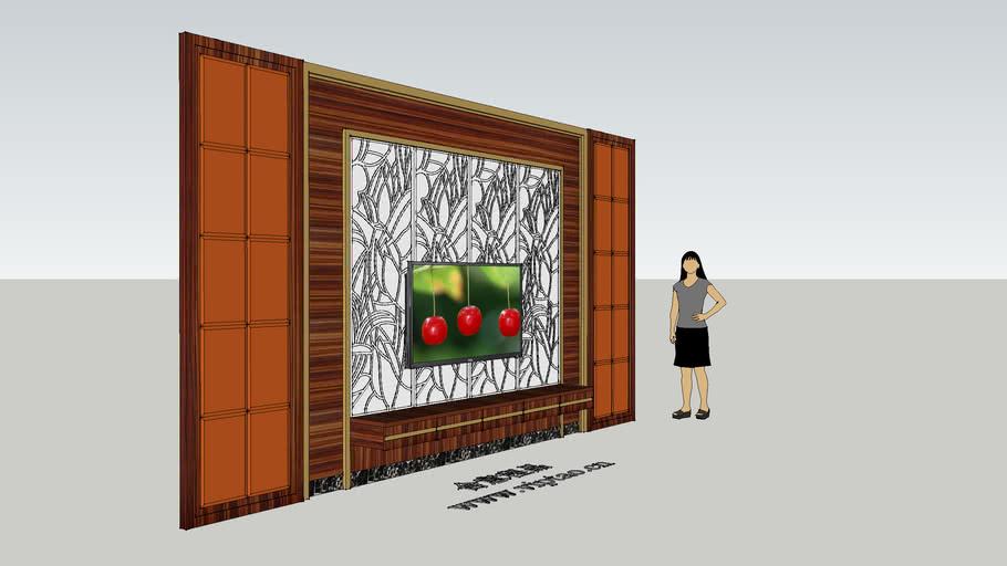 电视背景墙 拼镜 通花 中式电视背景墙 Background wall tv