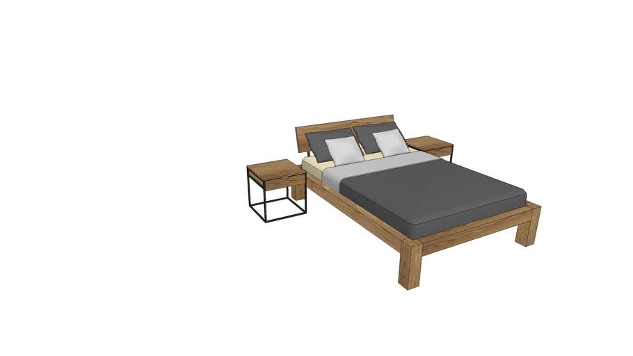 BA720+IZ800, Basel Bed 140x200cm with Izzy Nightstands