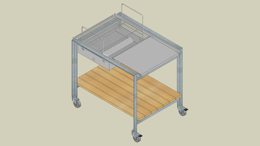 A11 90 6 40 serving-trolley with1 wooden trays + 1 bbq-element