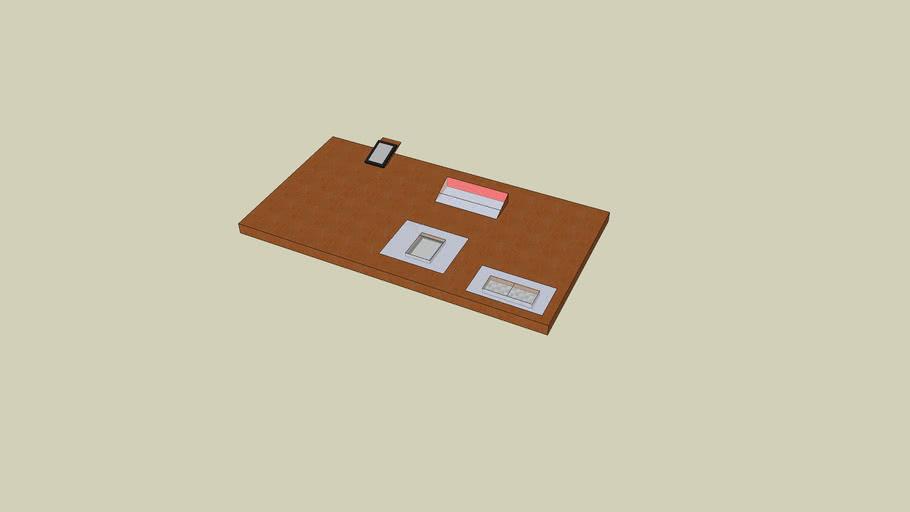 Površina mize z elektronskim papirjem zaščitenim s steklom; stojalom;