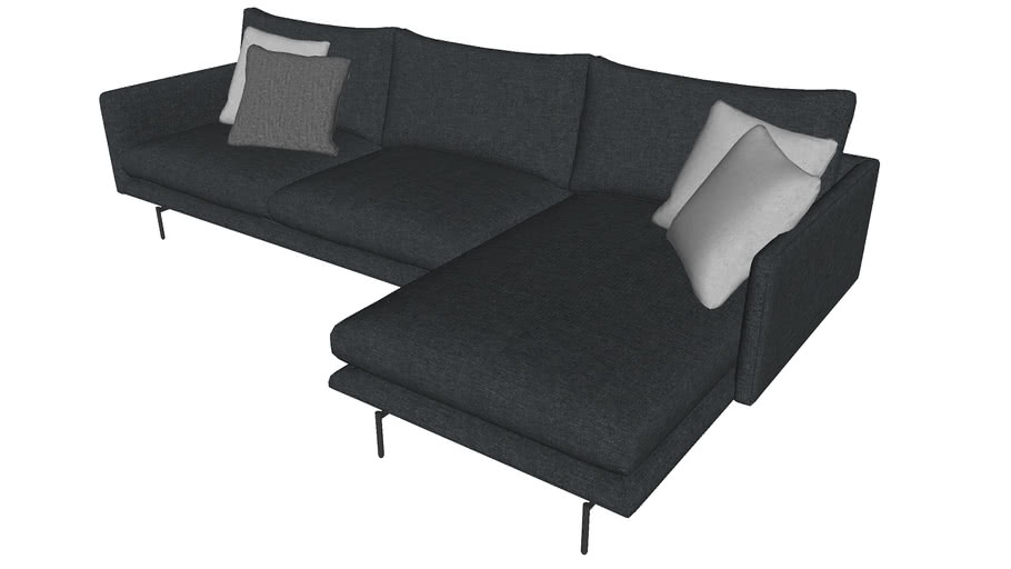 Houston Sectional Sofa Orion Gray Fabric by Modloft