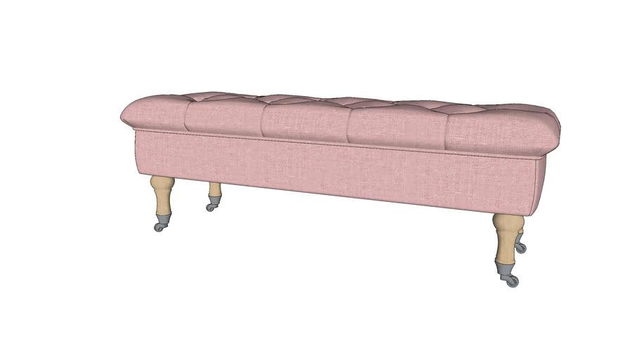 Banquette coffre à roulettes en lin rose