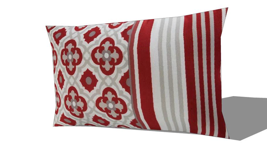 Coussin de jardin en tissu rouge imprimé 30x50cm SAUBRIGES REF 167372 PRIX