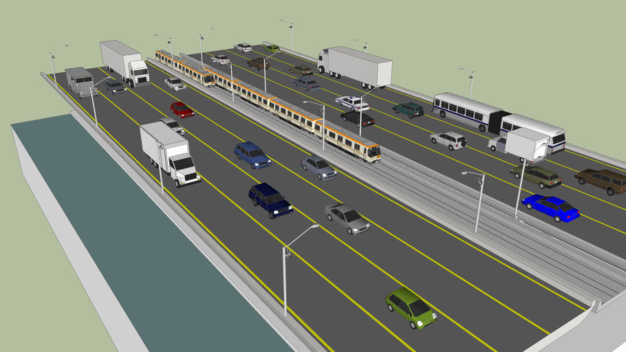 Raised freeway/ Highway section