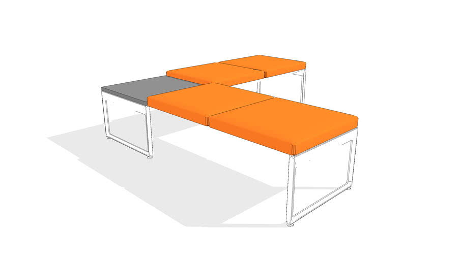 Clique Bench with Table, 5-Seater, No Back, Left Run-off, Metal Leg, Corner Table