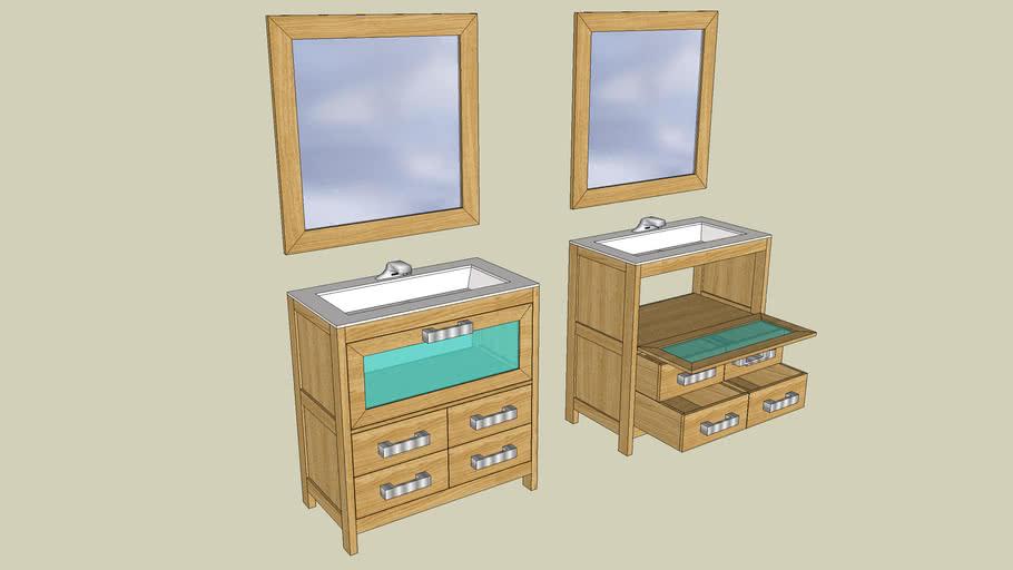 Mueble lavabo en roble
