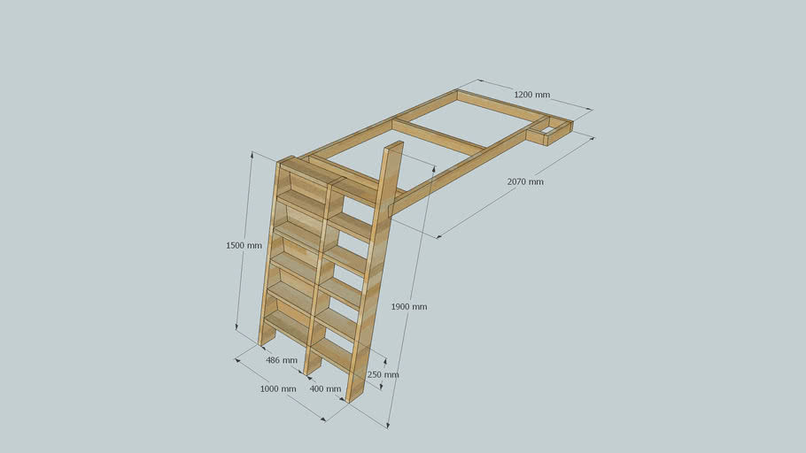 Low Loft Bed With Stairs 3d Warehouse