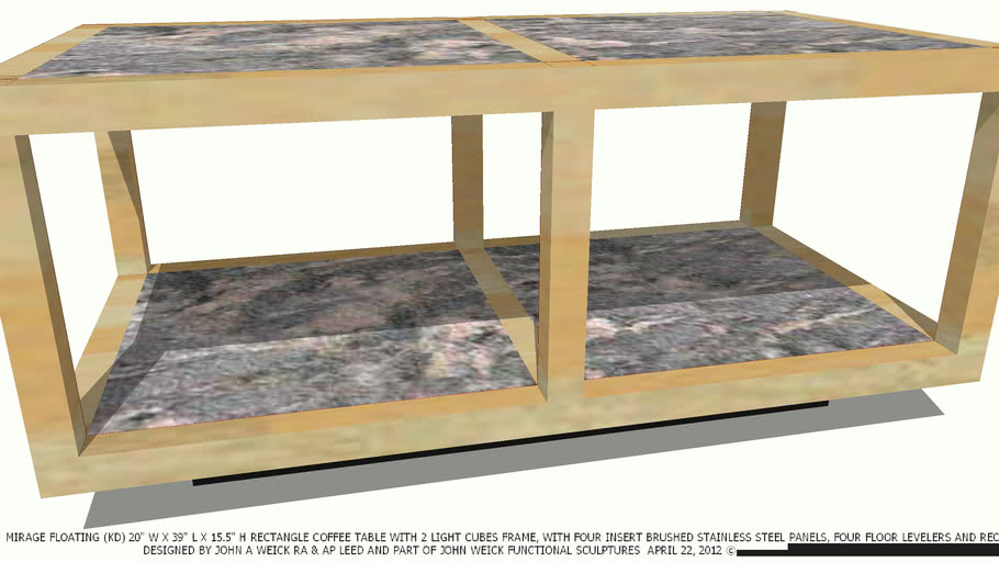 TABLE COFFEE 20 X 39 MIRAGE MARBLE & LIGHT WD BY JOHN A WEICK RA