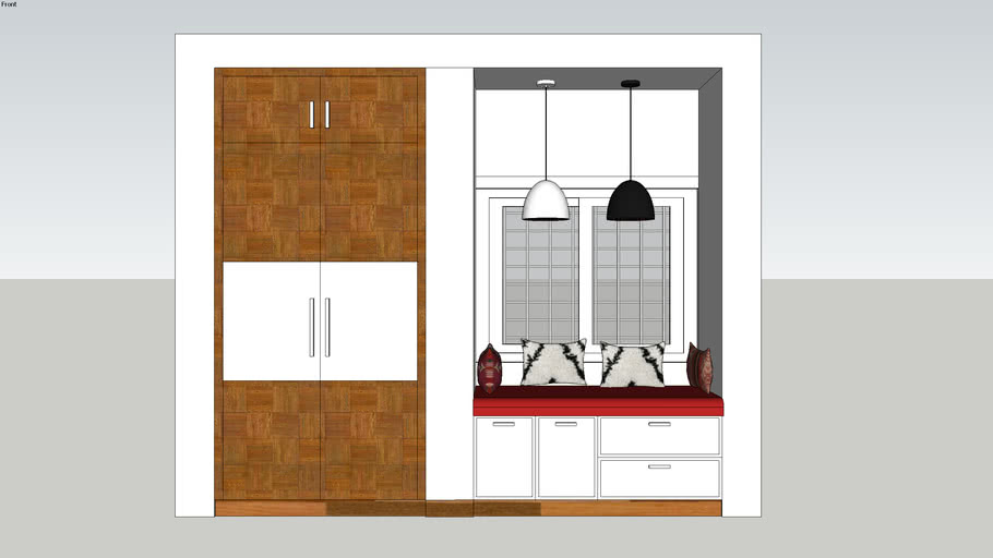 Wardrobe and window sitting area.