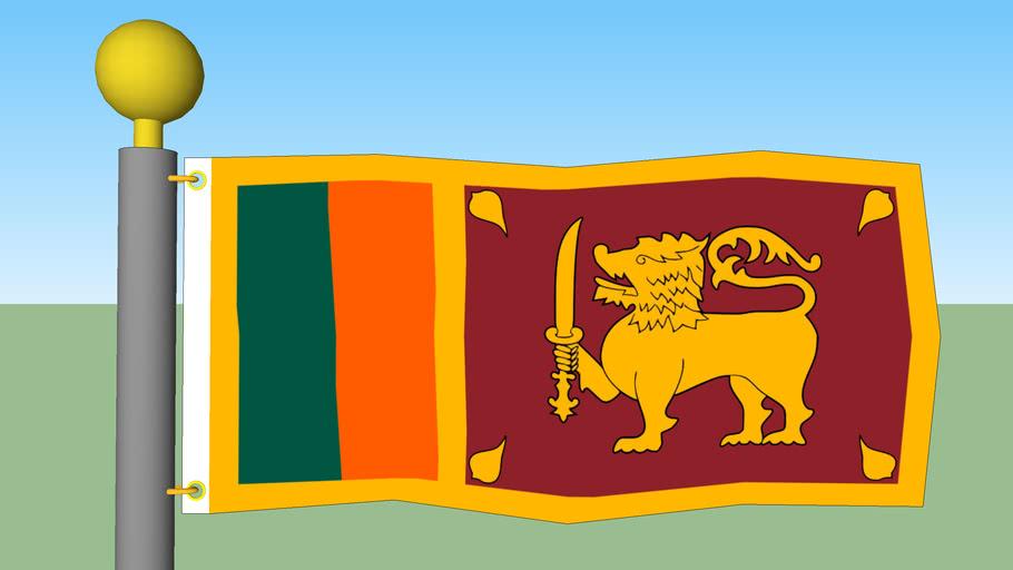 Sri Lanka Flag with Flagpole