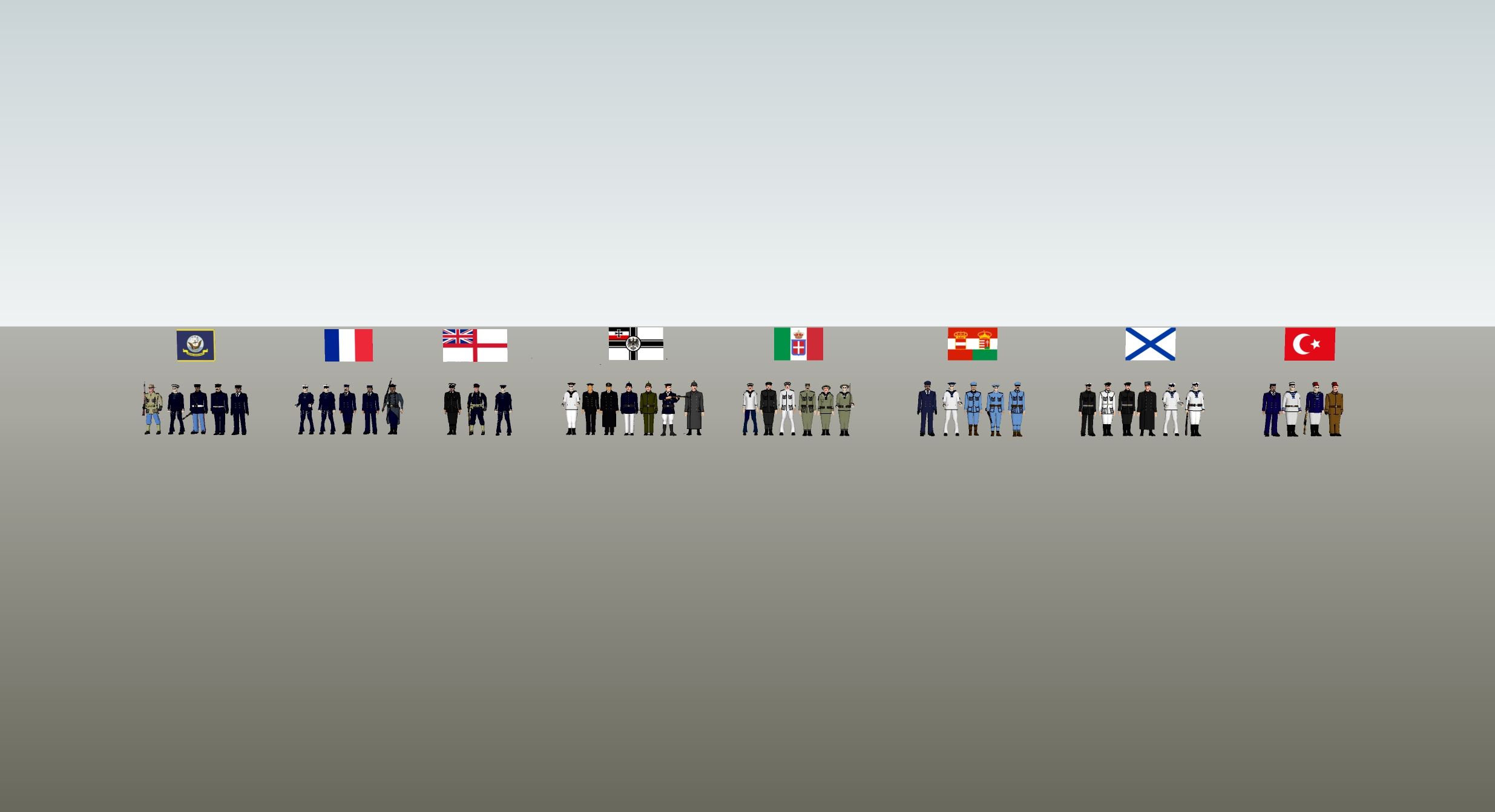 WW1 Navy men - 3D character models for 8 nations