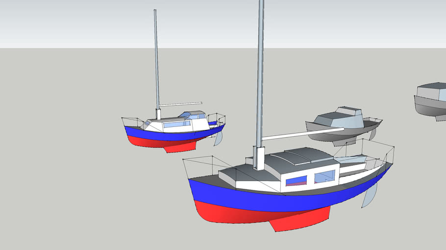4 incomplete yacht hulls