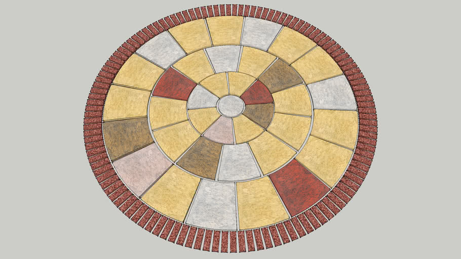 sandstone circle with brick edge