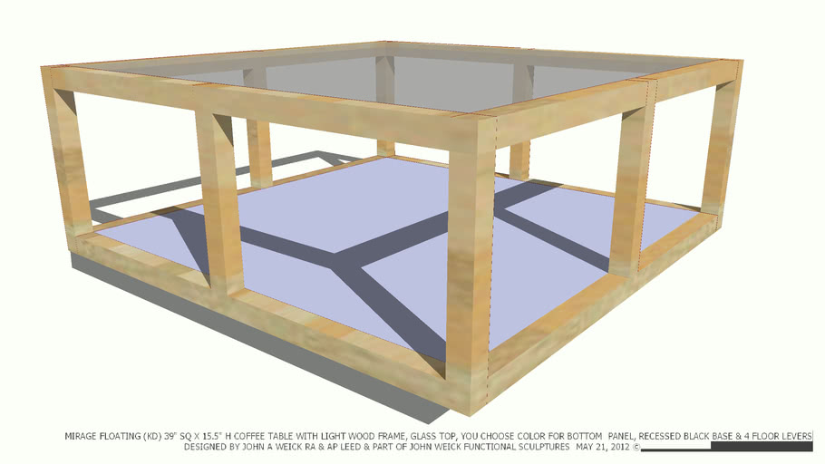 Table Coffee 39sq Lt Frame Gl Top You