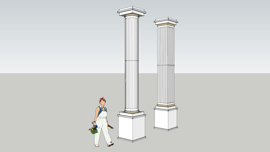 Classical Square and round Columns   3D Warehouse