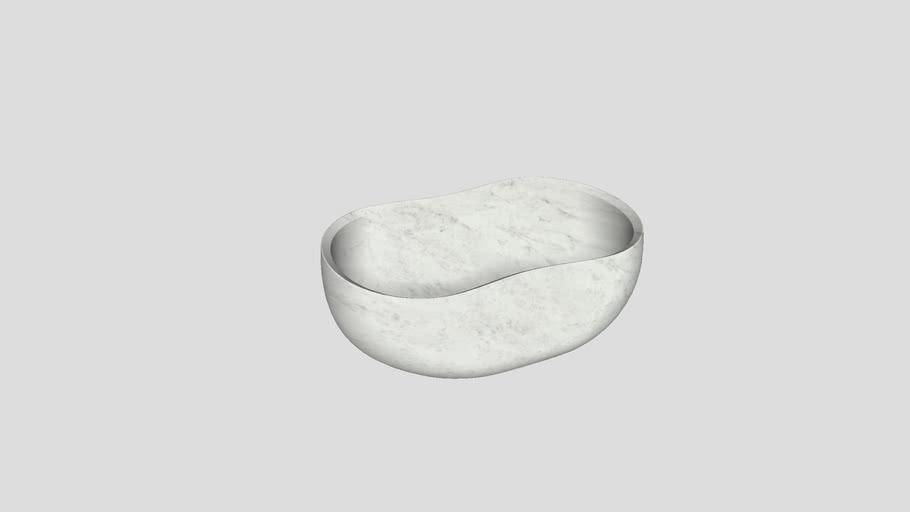 Countertop basin in Bianco Carrara marble | Salvatori | Anima 56x37cm