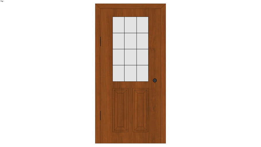 Framed Half Door with Double Panel and Window with Grate - Detailed