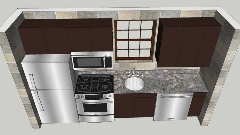 Small One Wall Kitchen 3d Warehouse