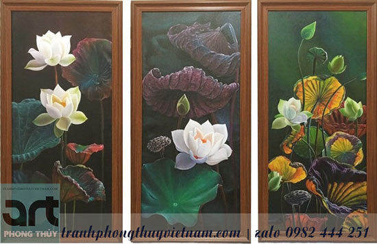 tranh bộ hoa sen màu sơn dầu