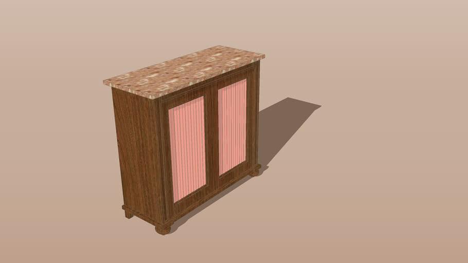 Antique Chiffonier - sideboard - cupboard - buffet bas - mahogany, marble top, pleated fabric doors