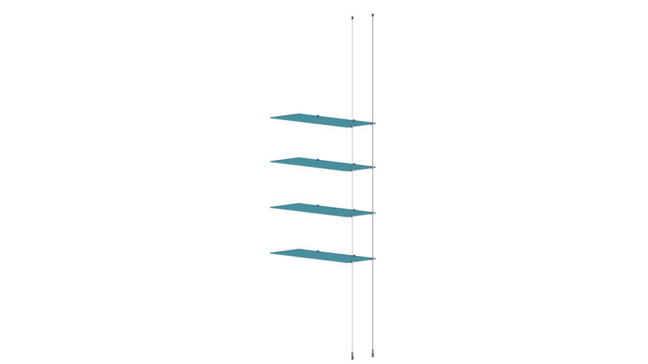 Cable Ceiling to Floor - 4 Glass Shelve - Add-on Unit