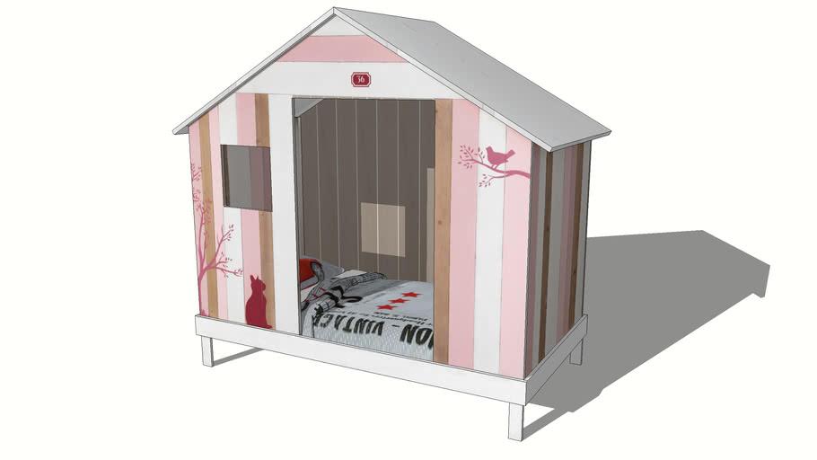 Lit cabane enfant rose et blanche VIOLETTE, Maisons du monde, réf 143435, prix 699,90 €