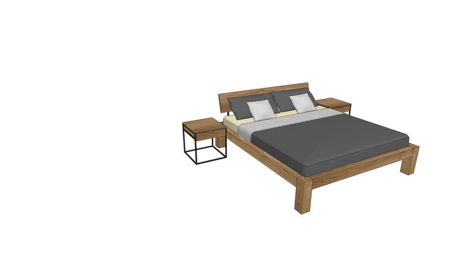 BA740+IZ800, Basel Bed 180x200cm with Izzy Nightstands