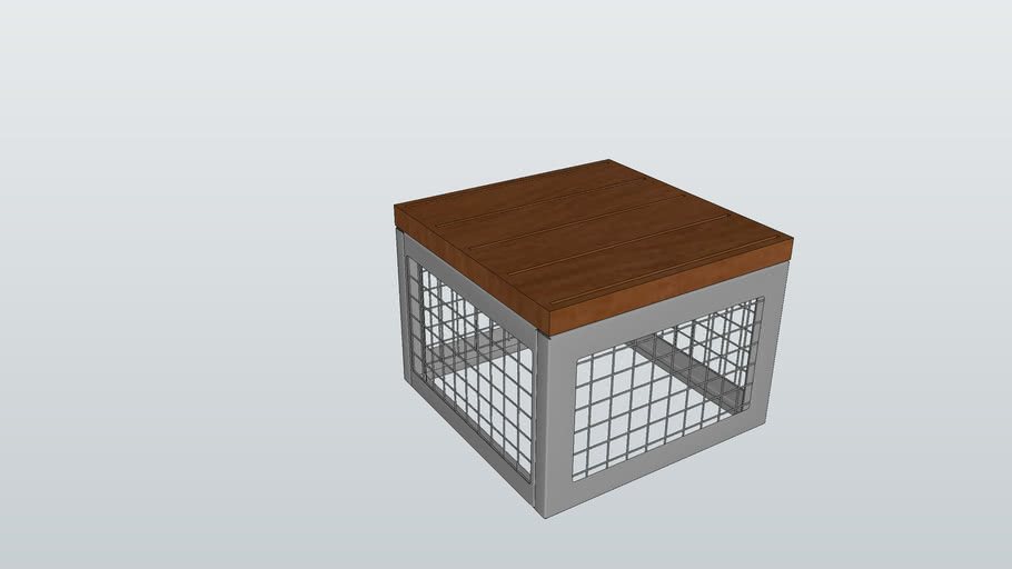 Canyon Thermory/Recycled Plastic Gabion-Style Stool
