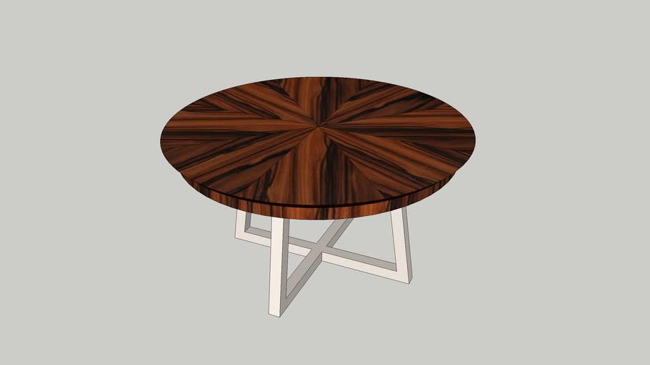 Mesa refeição redonda Nice 1500 tampo espinhado palissandro lacado perola