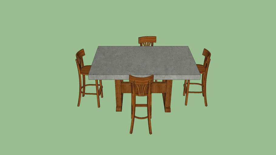 Concrete Dining Table with Chairs
