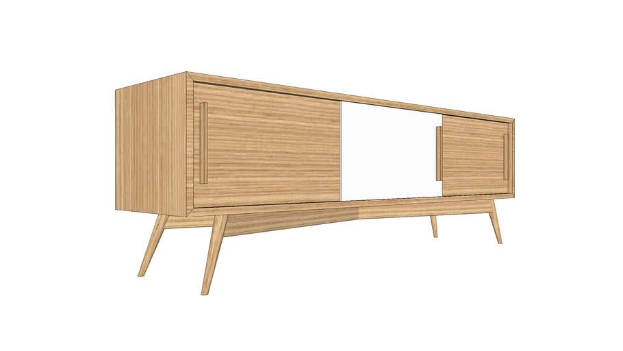 Meuble TV sur-mesure en chêne 165x40xh55cm / TV furniture