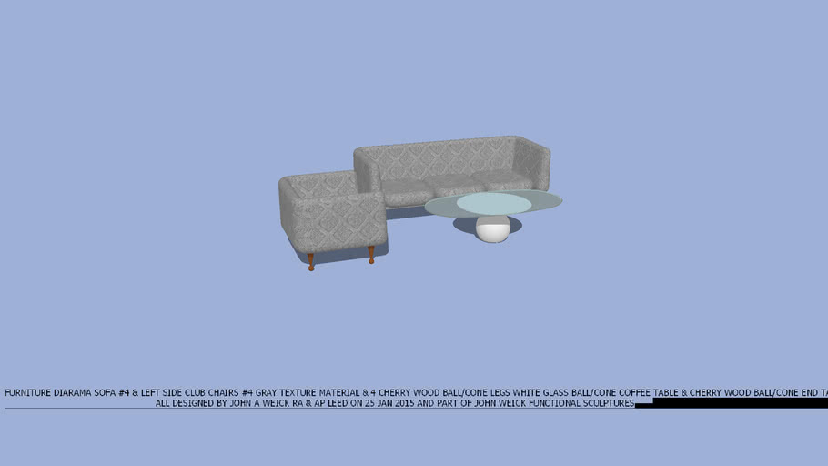 FURNITURE DIARAMA SOFA & CLUB CHAIRLEFT SIDE  #4 GREY, WHITE GLASS COFFEE TABLE & CHERRY WOOD END TABLE DESIIGN BY JOHN A WEICK RA & AP LEED ON 25 JAN 2015
