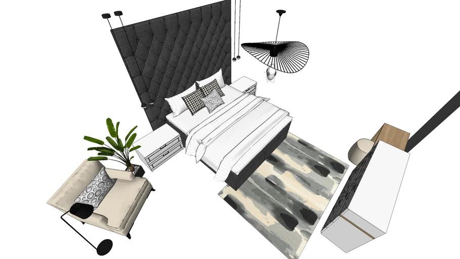 bedroom, armchair, plant, big headboard bed, ceiling light, designer carper