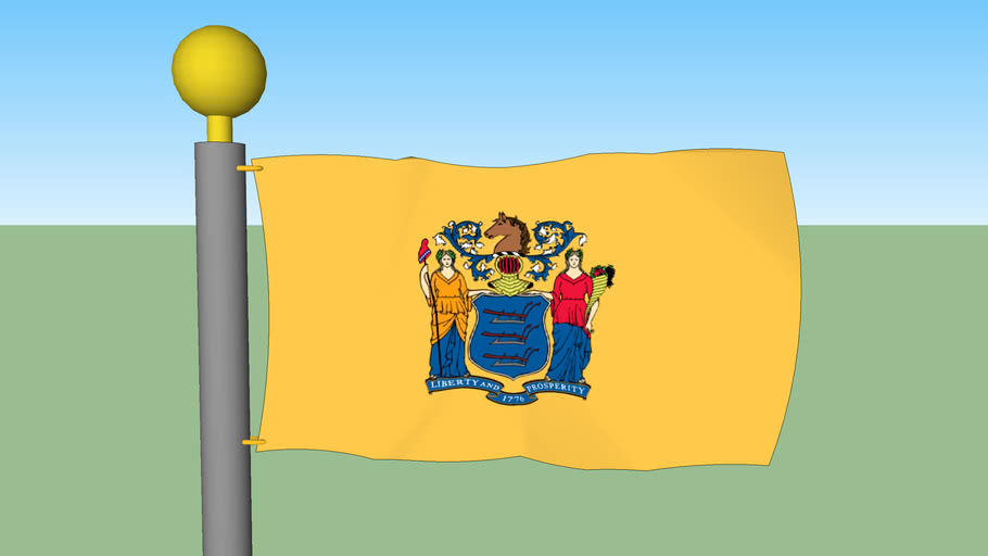 New Jersey State Flag with Flagpole