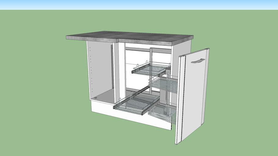 Meuble De Cuisine Bas D Angle 1 Porte Corner Gauche Silver Lapeyre 3d Warehouse
