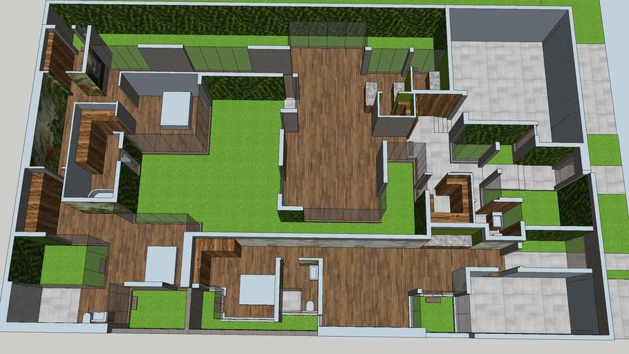 Modern Zen House Roof Removed 3d Warehouse