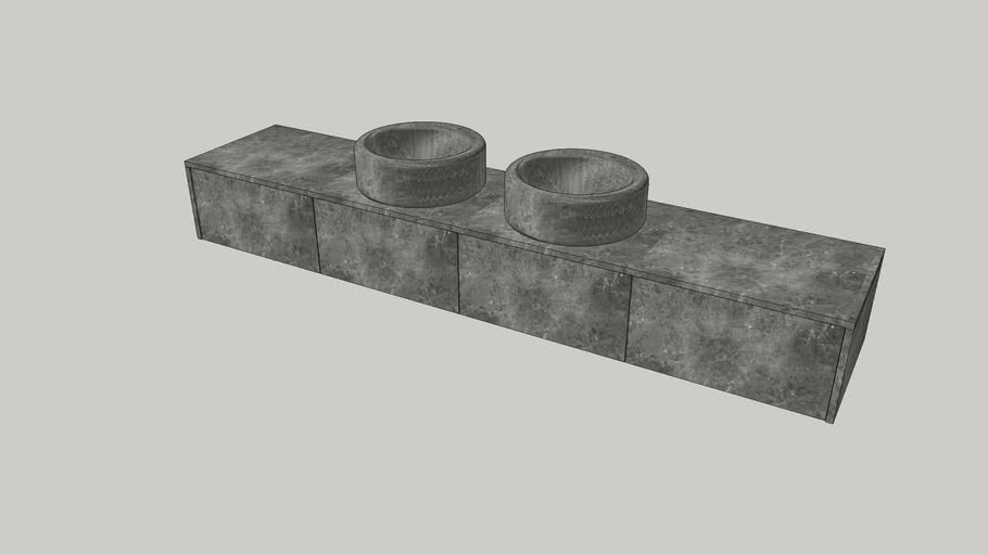 Wall-mounted modular system in Gris du Marais marble | Salvatori | Balnea L60cm modules