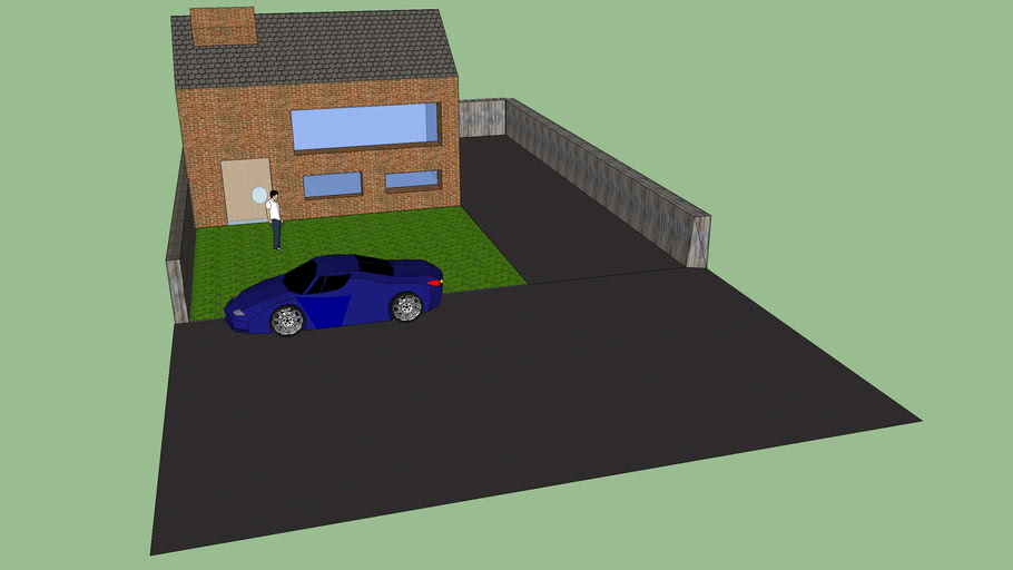 Basic Family Estate House With Car, Drive and Semi Road.