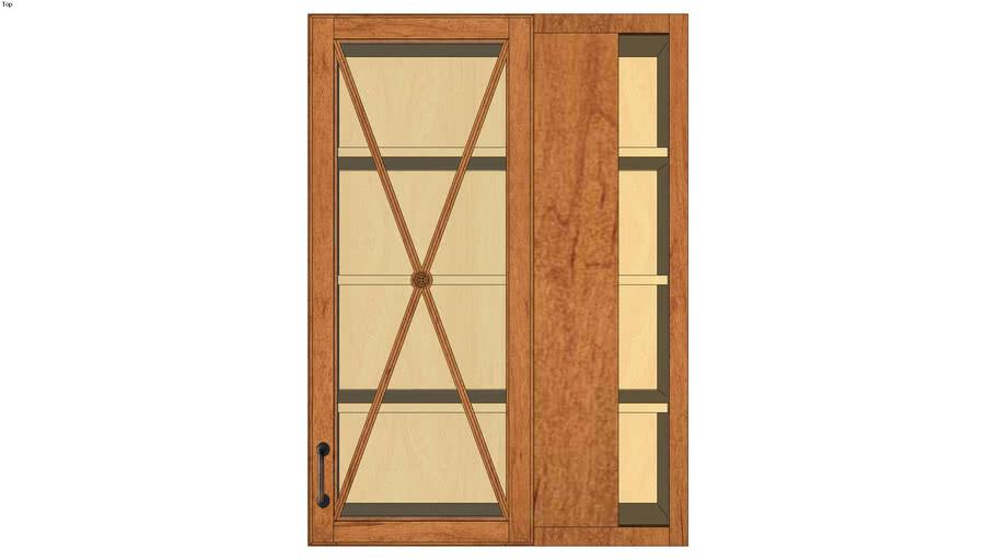 Wall Blind Corner Single Door 42H with Classic Mullion Antiquity Glass Insert