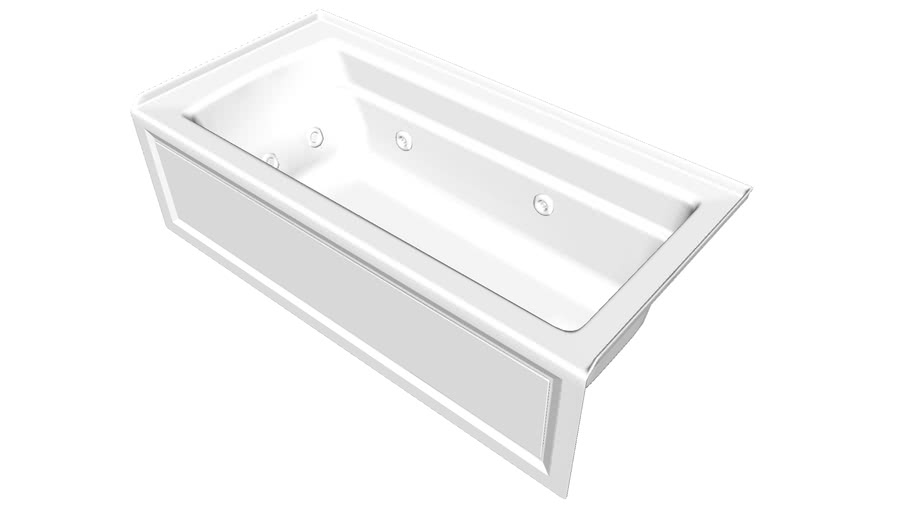 """K-1949-RA Archer(R) 66"""" x 32"""" integral apron whirlpool with integral flange and right-hand drain"""