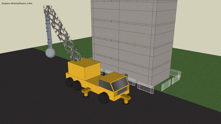 sketchy physics wrecking crane with building