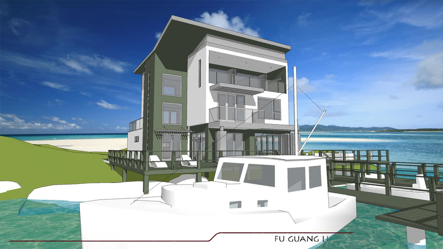 island retreat modern contemporary facade with butterfly roof window sliding door
