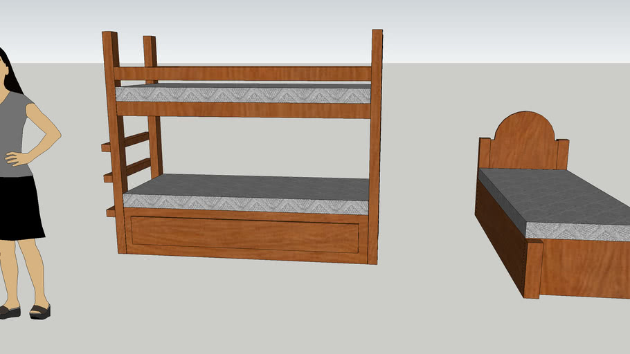 Twin XL bunk and single bed.