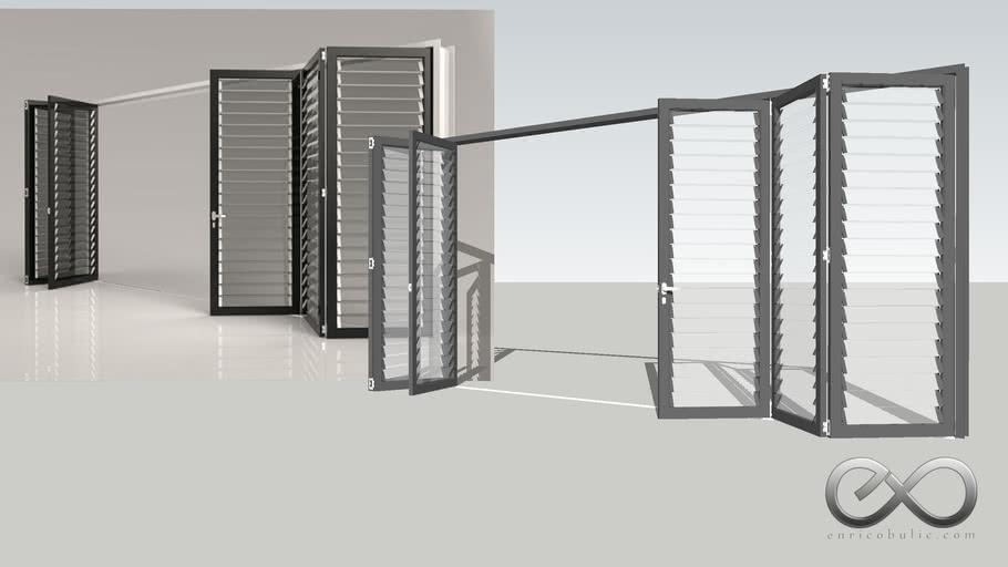 Folding Louvred Door 2x3 - Partially Open
