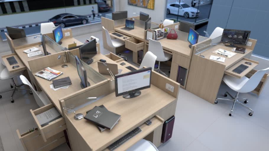 Set Simple Office Desk | Set Meja Kerja Sederhana