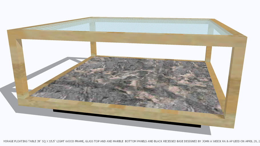 TABLE COFFEE 39 SQ LT WD FRAME GLASS MARBLE BY JOHN A WEICK