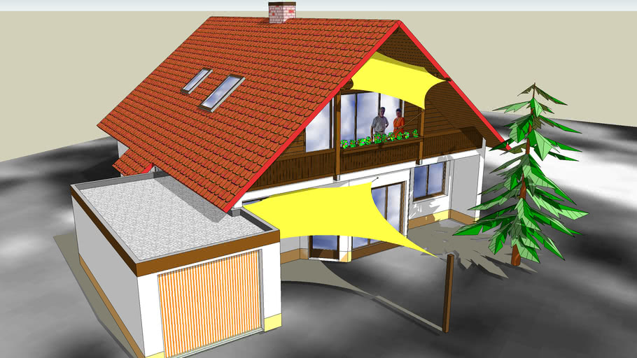 Einfamilienhaus mit Sonnensegel