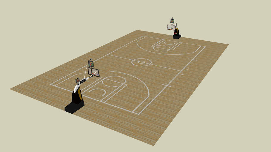 NBA-court with baskets + open space around the court. Colours are adjustable.