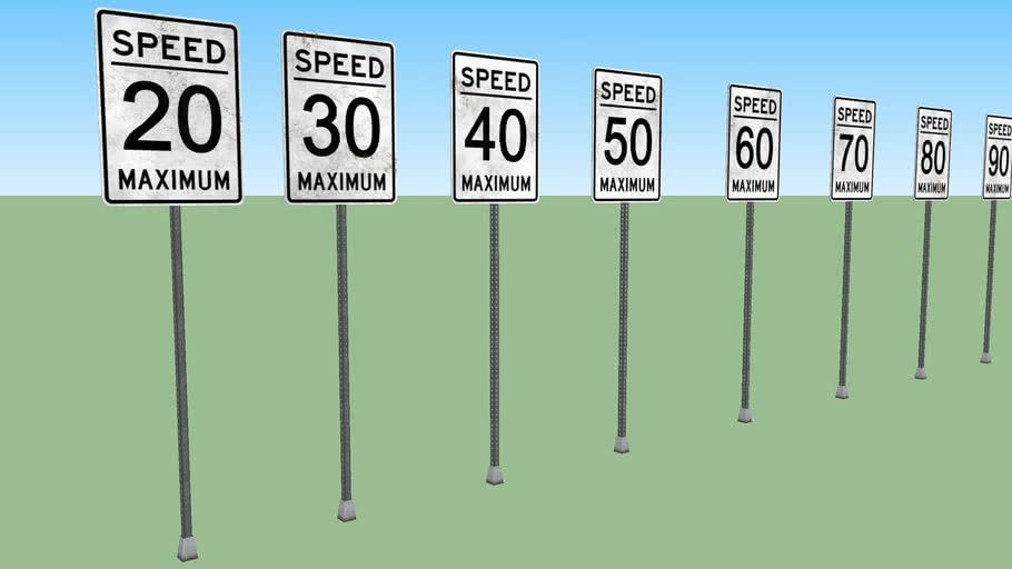 Speed street signs set